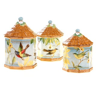 Certified International Botanical Birds 3-piece Canister Set