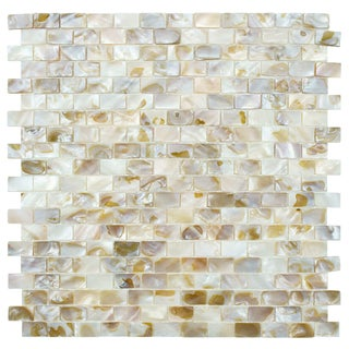 SomerTile 12.5x12.25-inch Seashell Subway Natural Mosaic Tiles (Pack of 10)