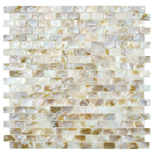SomerTile 12.5x12.25-inch Seashell Subway Natural Mosaic Wall Tile (Case of 10)