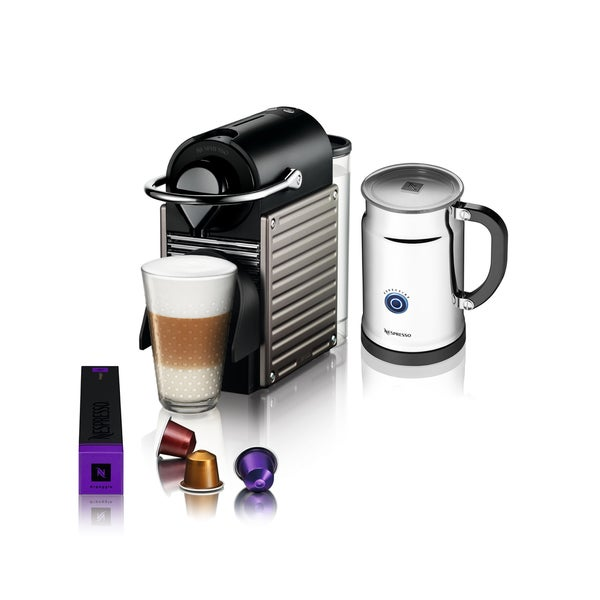 Nespresso Pixie Titanium Espresso Maker and Milk Frother (Refurbished)