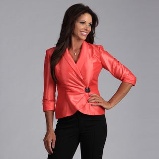 Evenings Women's Guava Taffeta Surplice Top - Overstock™ Shopping ...