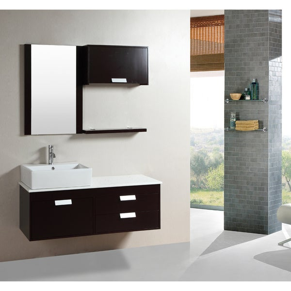 51.5inch Wallmount Espresso Finished Floating Bathroom Vanity Set
