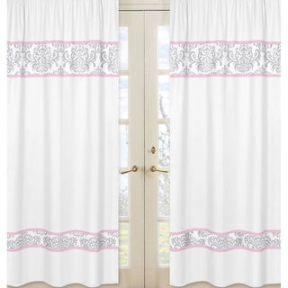 Pink & White Elizabeth Damask 84-inch Curtain Panel Pair