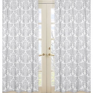 Grey and White Elizabeth Damask 84-inch Curtain Panel Pair
