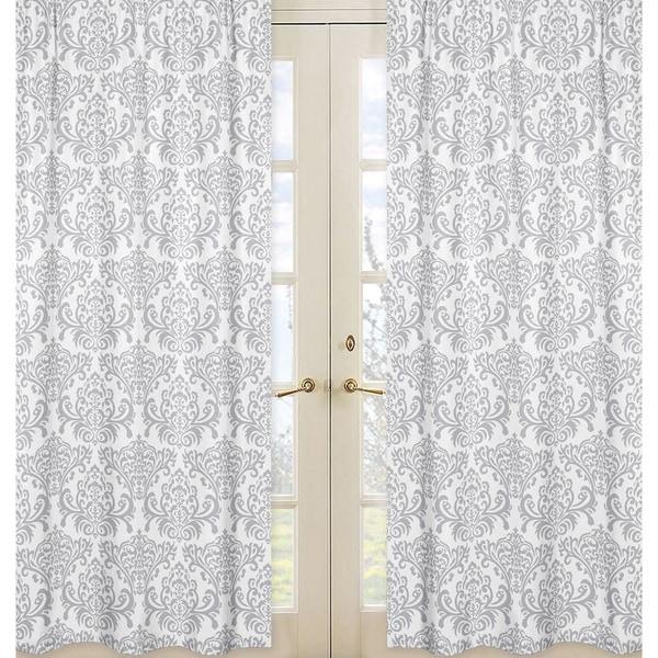 sweet jojo designs gray and white 84 inch window treatment