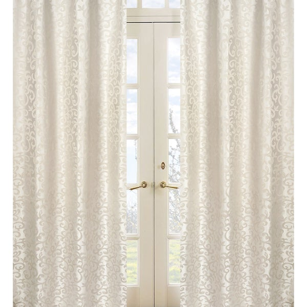 Champagne/ Ivory Victoria Jacquard 84-inch Curtain Panel Pair