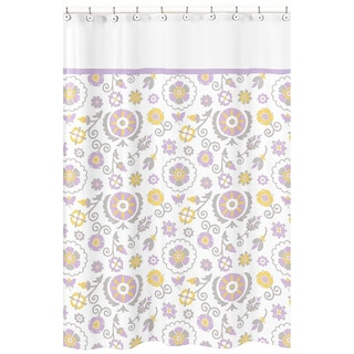 Suzanna Lavender and White Shower Curtain