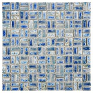 SomerTile 12-inch Samoan Weave Neptune Blue Porcelain Mosaic Tiles (Pack of 10)