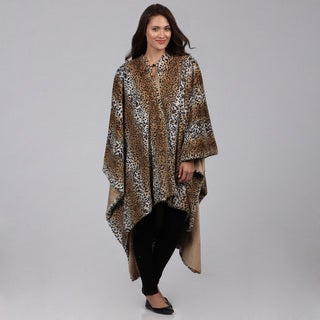 Faux Fur Leopard Poncho Throw