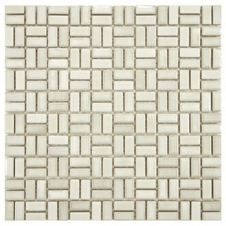 SomerTile 12-inch Samoan Weave Glacier Porcelain Mosaic Tiles (Pack of 10)