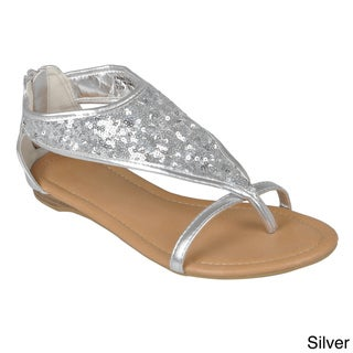 Hailey Jeans Co. Womens Sequined T-strap Sandals