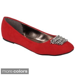 Journee Collection Women's 'Mendel-42' Rhinestone Accent Ballet Flats