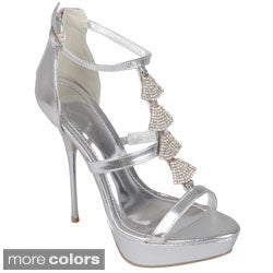 Journee Collection Women's 'Parker-1' Strappy Bejeweled Stilettos