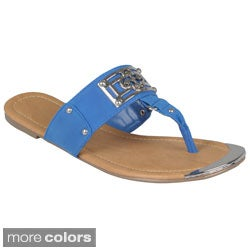 Hailey Jeans Co. Women's 'Subrina-4' Metal Design T-strap Sandals