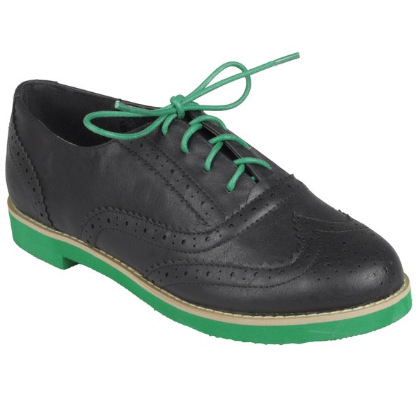 Journee Collection Women's Round Toe Black-and-Green Lace-up Oxford