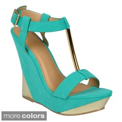 Journee Collection Women's 'Verna-3' Open Toe T-strap Wedges