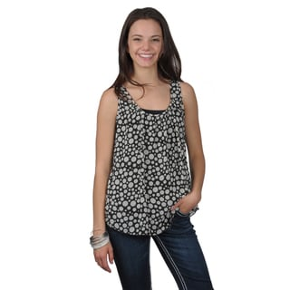 Journee Collection Juniors Black Sleeveless Scoop Neck Top