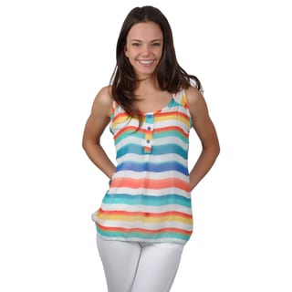 Journee Collection Juniors Lightweight Sleeveless Top with V-Neck