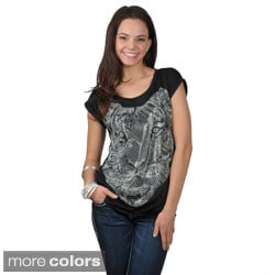 Journee Collection Juniors Short-sleeve Rhinestone Tiger Print Top