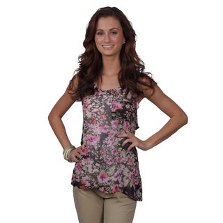Journee Collection Juniors Sleeveless Floral Print Top