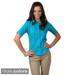 Journee Collection Women's Half Sleeve Fitted Blouse