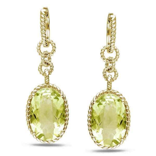 Miadora Yellow-plated Silver Lemon Quartz Dangle Earrings