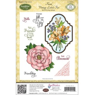 JustRite Stampers Cling Stamp Set-Floral Vintage Labels Two 8pc