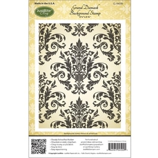 JustRite Stampers Cling Background Stamp 4-1/2X5-3/4in-Grand Damask
