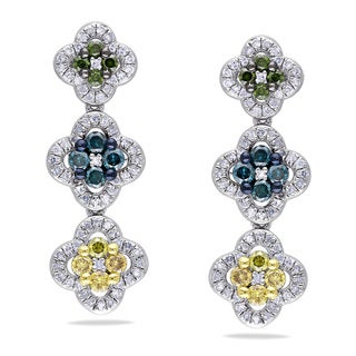 Miadora Sterling Silver 1ct TDW Multi-color Diamond Dangle Earrings