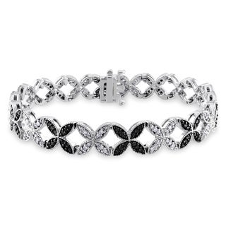 Miadora 14k White Gold 1 3/4ct TDW Black and White Diamond Bracelet with Bonus Earrings