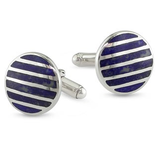 Miadora Sterling Silver Men's Synthetic Lapis Cufflinks