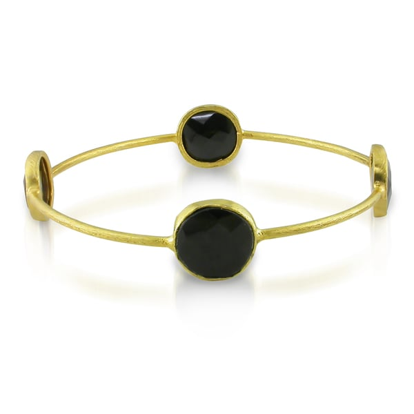 Miadora 22k Yellow Goldplated Silver Onyx Bangle