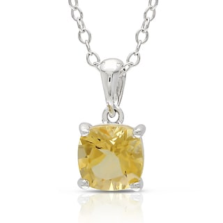 Miadora Sterling Silver Citrine Solitaire Necklace