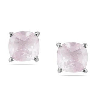 M by Miadora Sterling Silver Rose Quartz Solitaire Earrings
