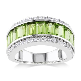 Miadora Sterling Silver White Sapphire and Peridot Ring