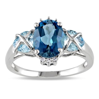 Miadora Sterling Silver 3 1/2ct TGW Blue Topaz and Diamond Ring