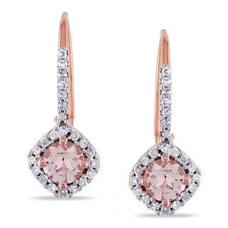 Miadora Rose Plated Silver Morganite 1/4ct Diamond Earrings (H-I, I2-I3)