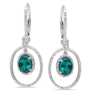 Miadora Sterling Silver Created Emerald and 1/8ct TDW Diamond Earrings