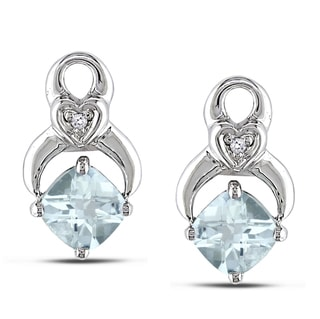 Miadora 10k White Gold Aquamarine and Diamond Earrings