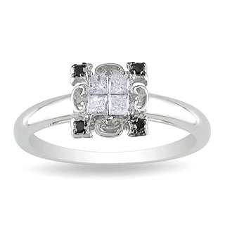 Miadora 10k Gold 1/4ct TDW Black and White Diamond Ring