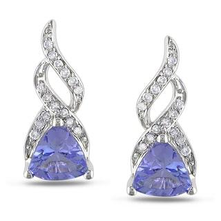 Miadora 10k White Gold Tanzanite 1/10ct TDW Diamond Earrings (H-I, I2-I3)