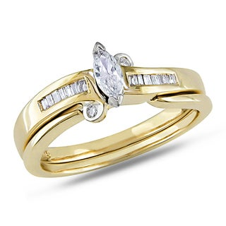 Miadora 14k Yellow Gold 1/4ct TDW Bridal Ring Set (G-H, I1-I2)