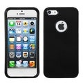 BasAcc Black Rubberized Case with Decorative Rings for Apple iPhone 5