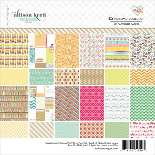 Sweet Notes Collection Pad 6X6in 24/Sheets