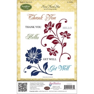 JustRite Stampers Cling Stamp Set-Floral Thank You 8pc