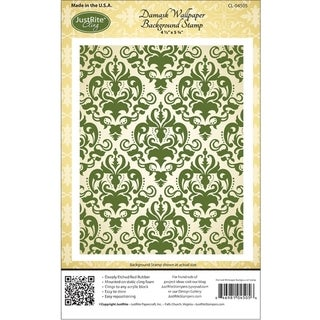 JustRite Stampers Cling Background Stamp 4-1/2X5-3/4in-Damask Wallpaper