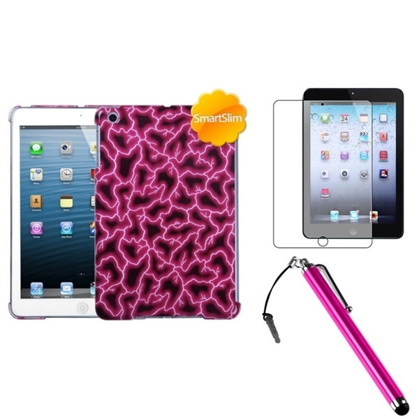 INSTEN Red Tablet Case Cover/ Stylus/ Screen Protector for Apple iPad Mini