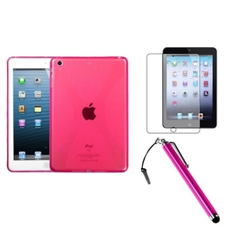 BasAcc Hot Pink Case/ Stylus/ LCD Protector for Apple iPad Mini