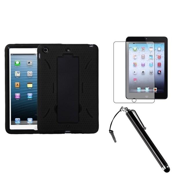 INSTEN Black/ Black Tablet Case Cover/ Stylus/ LCD Protector for Apple iPad Mini