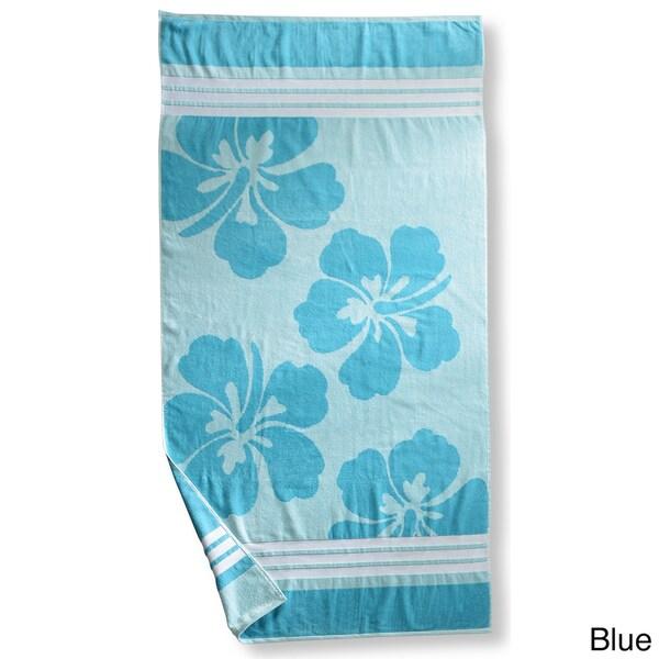 Superior Collection Hawaiian Flower Oversized Cotton Jacquard Beach Towel (Set of 2)